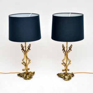 pair of antique italian brass rococo table lamps