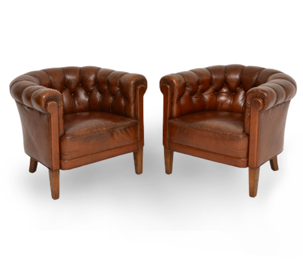 Pair-of-Antique-Swedish-Leather-Armchairs