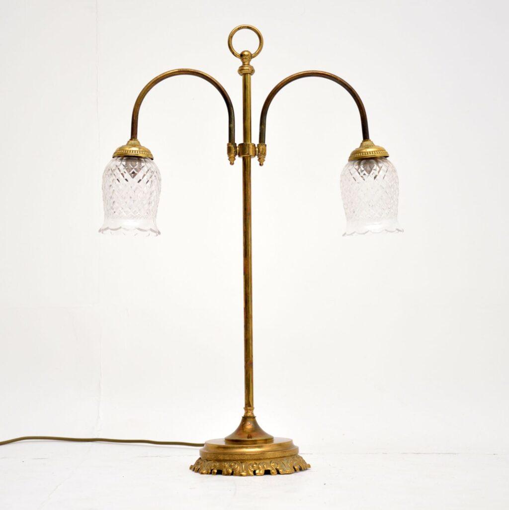 antique vintage brass glass table lamp