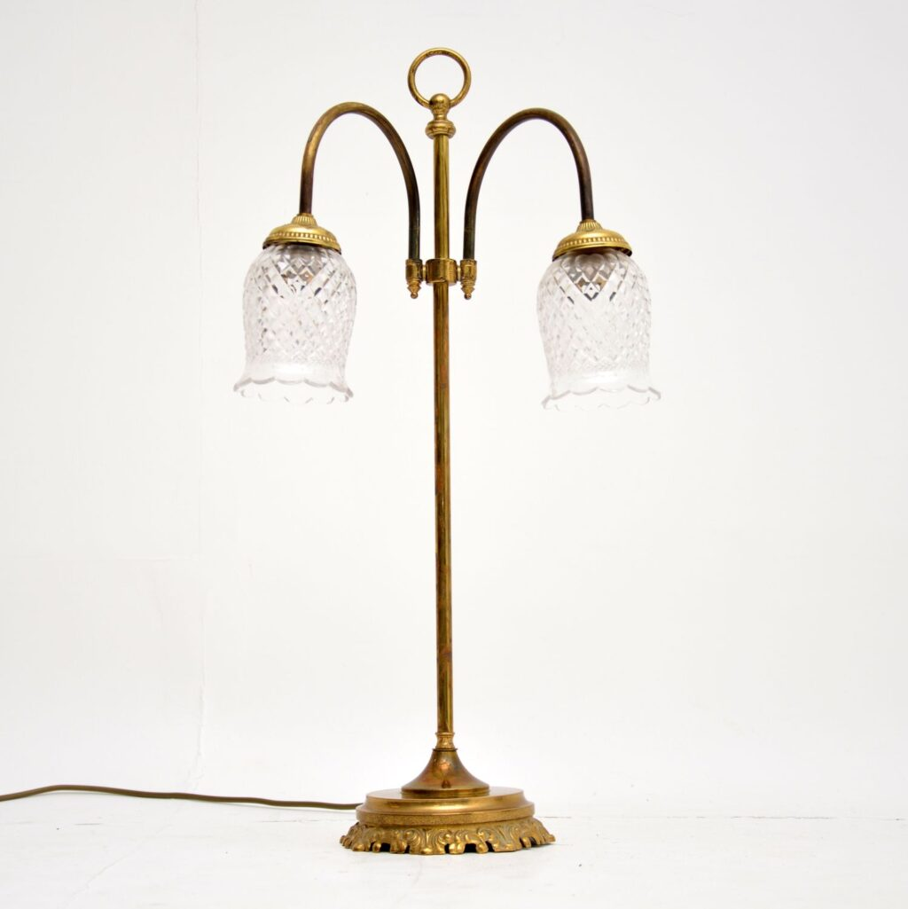 antique vintage brass glass table lamp