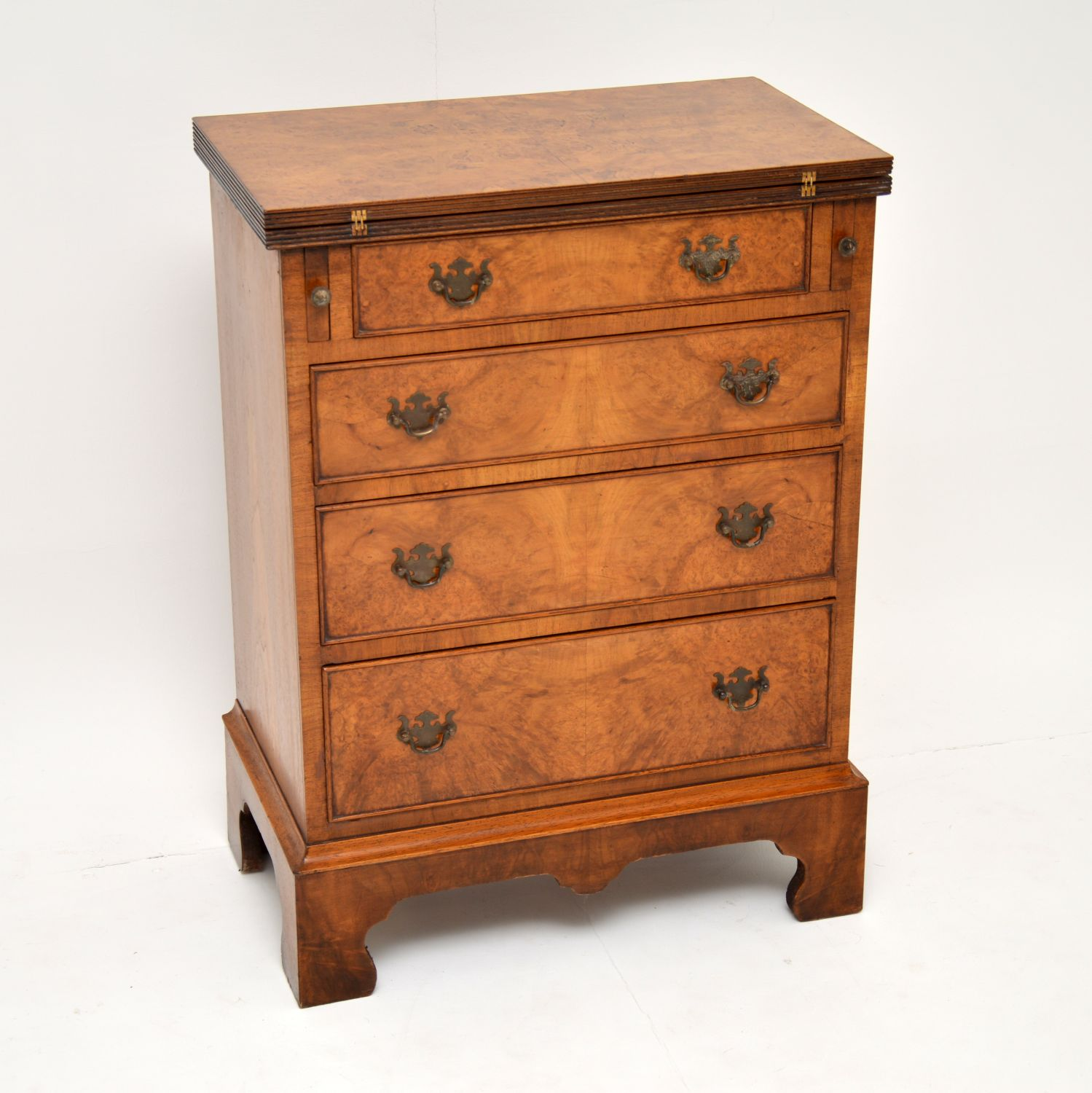 antique burr walnut bachelors chest of drawers