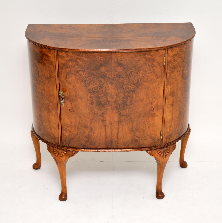 antique burr walnut side cabinet