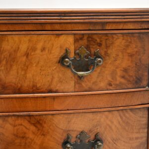 antique burr walnut bow front georgian chest of drawers