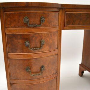 antique burr walnut leather top pedestal desk