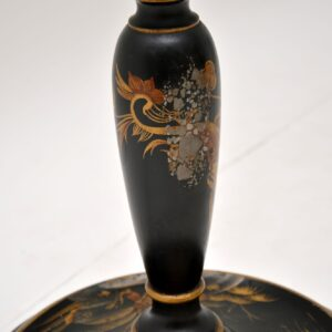 Antique Lacquered Chinoiserie Lamp Stand & Shade