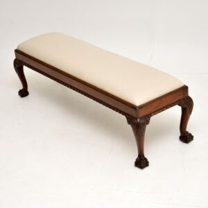antique carved mahogany chippendale stool