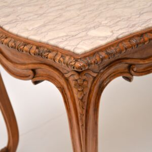 antique carved walnut marble coffee table