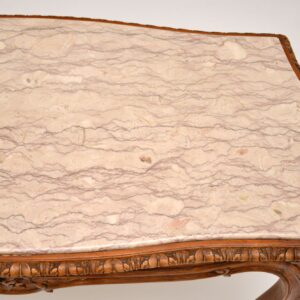 Antique French Carved Walnut & Marble Coffee Table