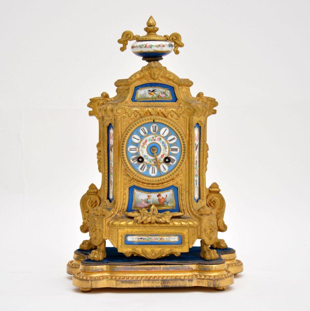 antique french gilt metal clock brunfaut