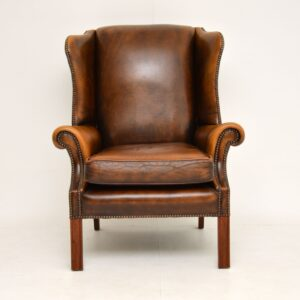 antique leather mahogany wing back armchair