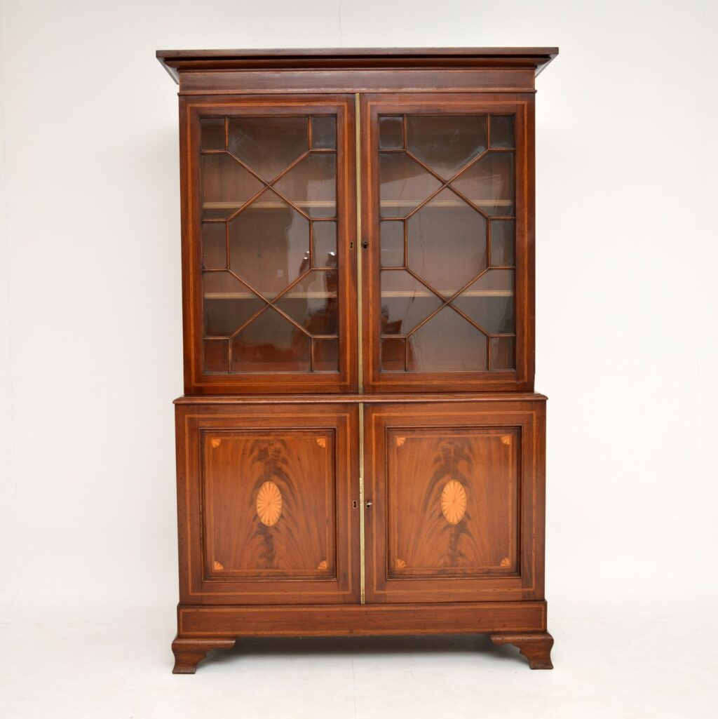 antique inlaid mahogany georgian edwardian bookcase