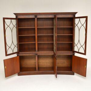antique georgian concave mahogany bookcase