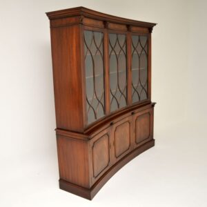 Antique Georgian Style Mahogany Concave Bookcase