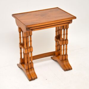 Antique Georgian Style Yew Wood Nest of Tables