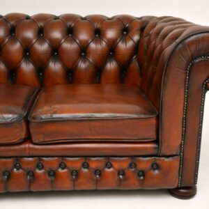 antique leather victorian two seat chesterfield sofa