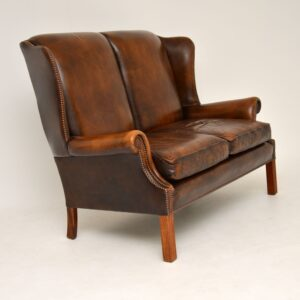 antique leather wing back sofa