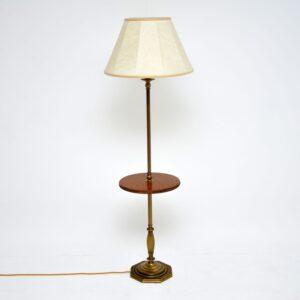 antique brass mahogany lamp table