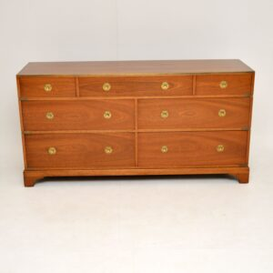 antique mahogany & brass military campaign chest of drawers sideboard