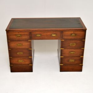 antique leather mahogany military campaign desk