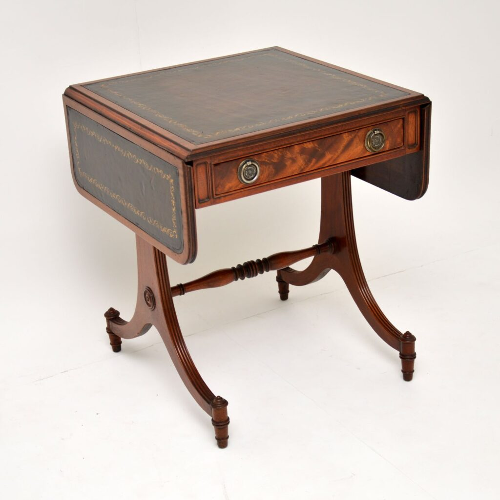 antique mahogany leather drop leaf sofa side table