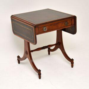 antique mahogany leather drop leaf sofa side table