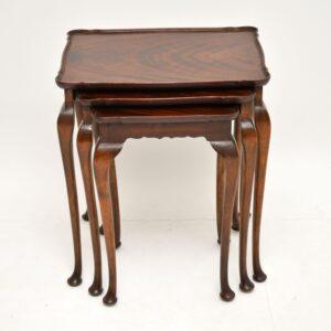 antique mahogany nest of three tables