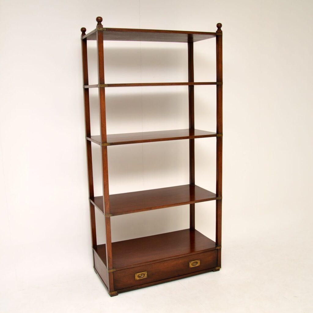 antique mahogany military campaign bookcase cabinet bookshelf