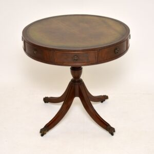 antique mahogany and leather drum table