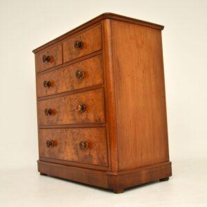 antique victorian burr walnut chest of drawers