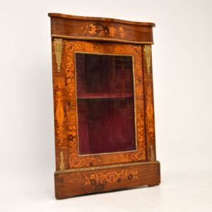 antique victorian inlaid walnut corner cabinet