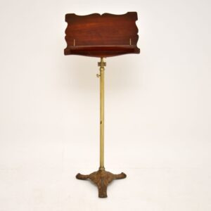 antique victorian mahogany brass reading stand