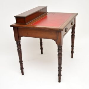 Antique Victorian Mahogany Leather Top Desk / Writing Table