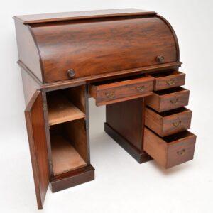 antique victorian mahogany roll top pedestal desk
