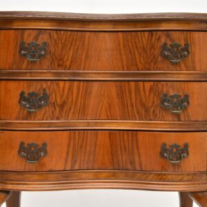 Antique Figured Walnut Side Table with 3 Drawers