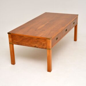 antique military campaign style yew wood coffee table