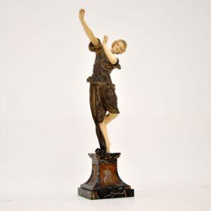 art deco antique bronze statue cjr colinet