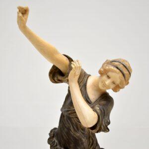 Original Signed Chryselephantine Bronze & Ivory Dancer by CJR Colinet