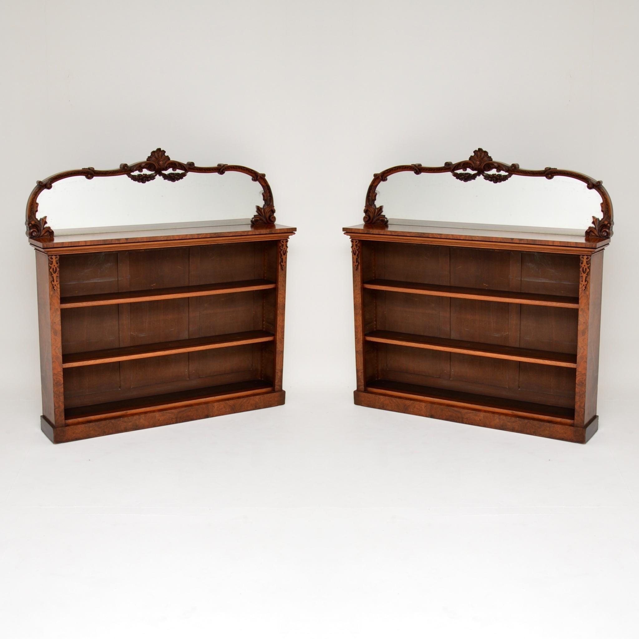 pair of antique victorian burr walnut bookcases