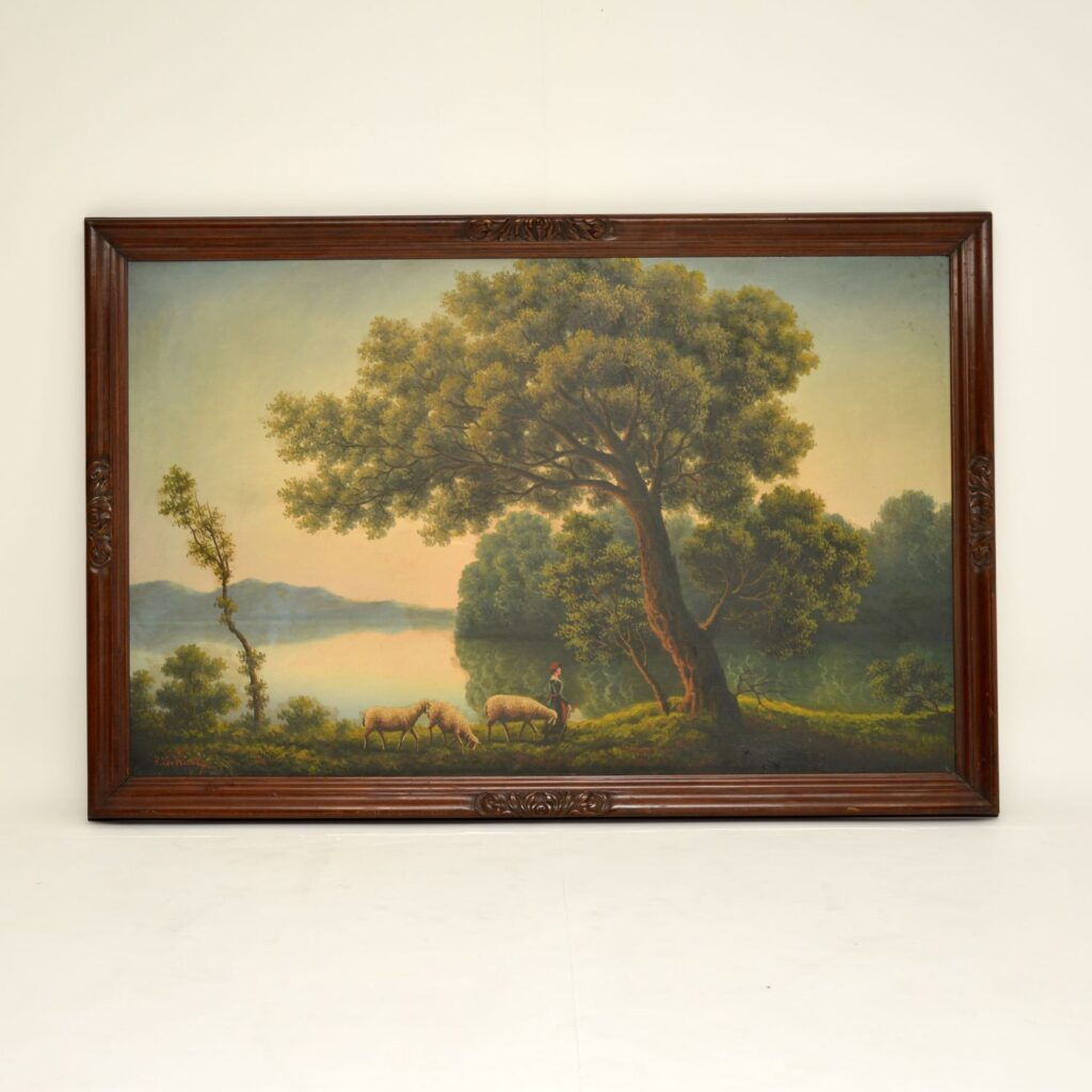 large antique oil painting mahogany frame