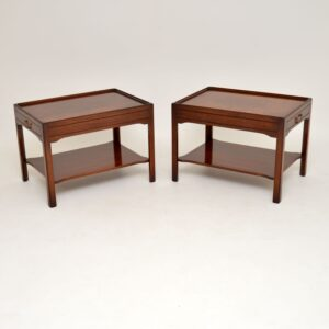 pair of antique georgian mahogany side lamp end tables