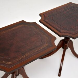 Pair of Antique Regency Style Leather Top Mahogany Side Tables