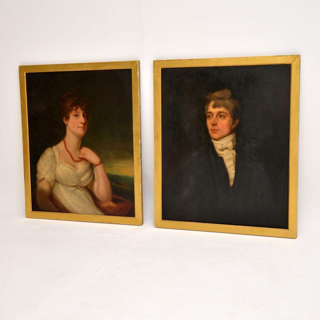 pair antique oil painting portrait 19th century art