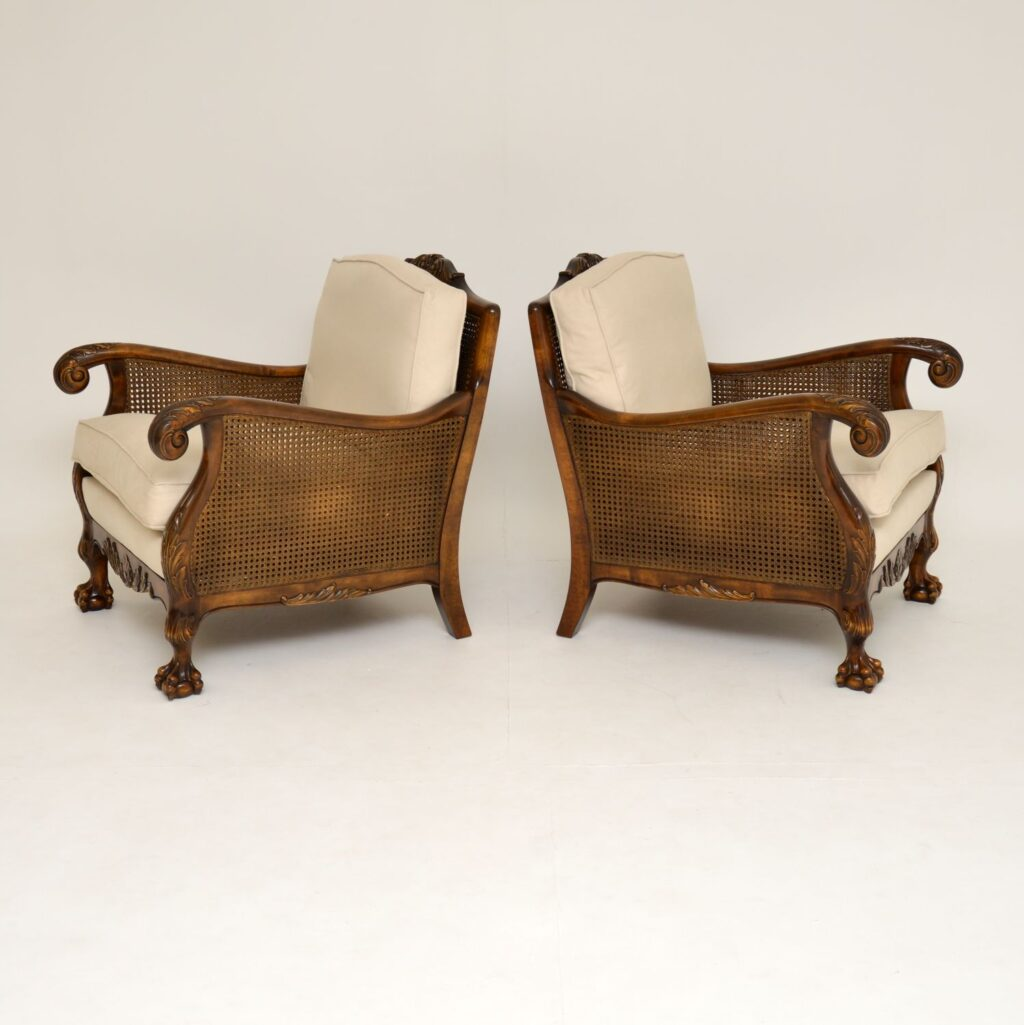 pair of antique swedish satin birch armchairs