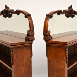 pair of antique burr walnut open mirrored bookcases