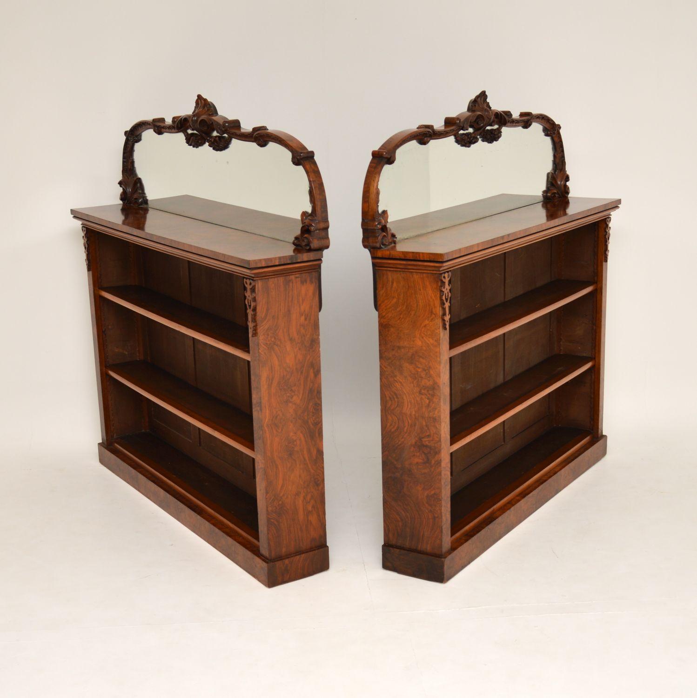 pair of antique burr walnut open mirrored bookcases