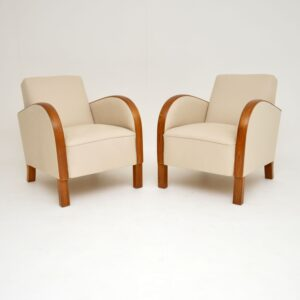 art deco swedish oak pair of armchairs