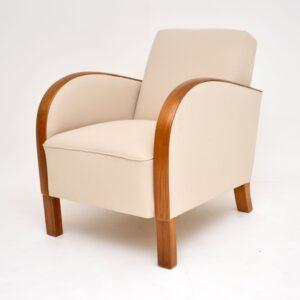 art deco swedish oak pair of armchairs
