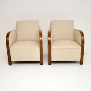 pair art deco swedish satin birch armchairs