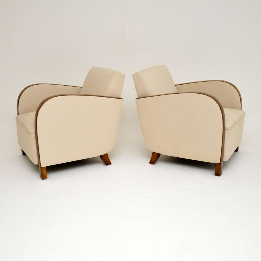 pair art deco swedish satin birch armchairs