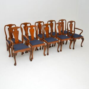 set of ten 10 antique burr walnut queen anne dining chairs